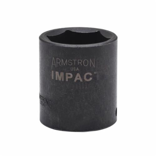Armstrong 47-015 Metric Standard Length Impact Socket, 15 mm Socket, 1/2 in Drive, 1.496 in OAL, High Alloy Steel