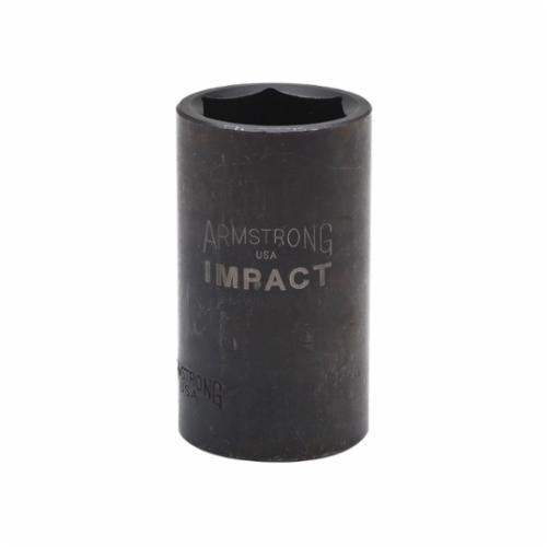 Armstrong 47-220 Deep Length Metric Impact Socket, 20 mm Socket, 1/2 in Drive, 3.228 in OAL, High Alloy Steel, 6 Points