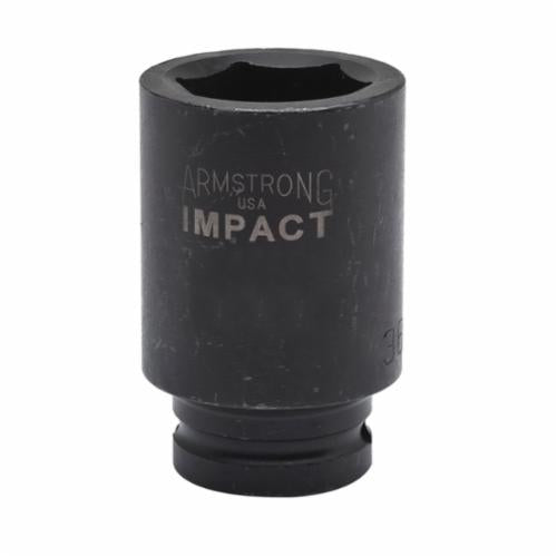Armstrong 48-223 Deep Length Metric Impact Socket, 23 mm Socket, 3/4 in Drive, 3-1/2 in OAL, High Alloy Steel, 6 Points