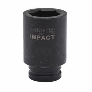 Armstrong 48-222 Deep Length Metric Impact Socket, 22 mm Socket, 3/4 in Drive, 3.248 in OAL, High Alloy Steel, 6 Points