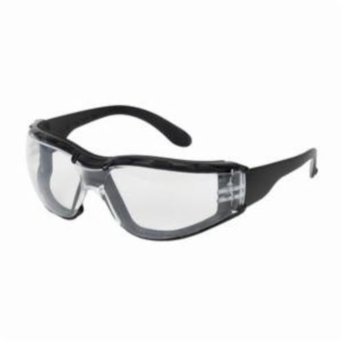 250-01-F020 Single Safety Glasses, Universal, Rimless Black Frame, Anti-Fog Clear Lens