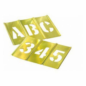 10074 45-Pieces Interlocking Letter and Number Stencil Set, 4 in H, Brass, Gold