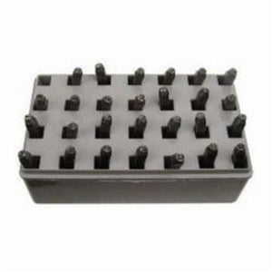 20300 27-Pieces Letter Stamp Set, 1/4 in H, Standard Impression, Durable Plastic Case, Steel