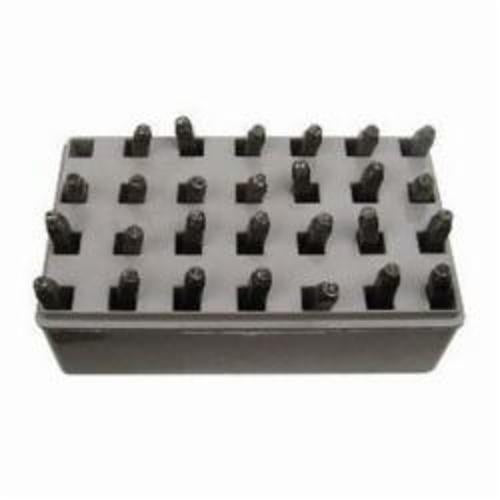 20250 27-Pieces Letter Stamp Set, 3/16 in H, Standard Impression, Durable Plastic Case, Steel