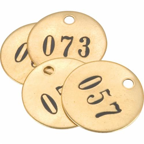 40030 Number Tag, 1-1/2 in W, 3/16 in Hole, Brass
