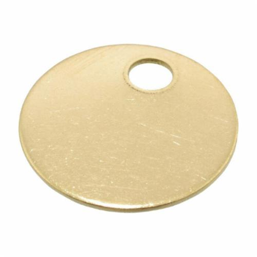 41822 1-Hole Round Blank Tag, 1 in W, 3/16 in, 18 ga Brass