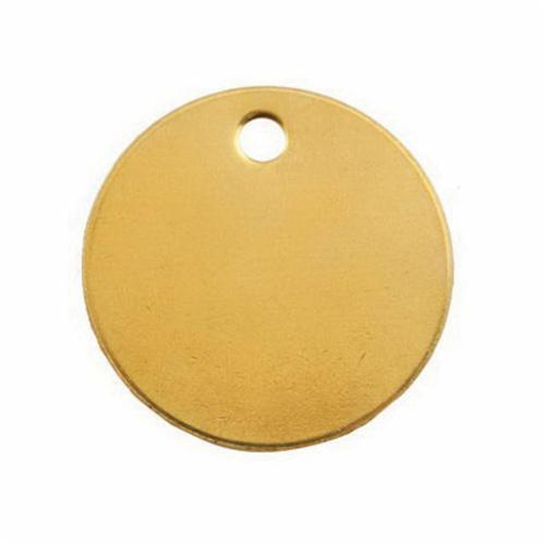 41849 1-Hole Round Blank Tag, 1-3/8 in W, 3/8 in, 18 ga Brass