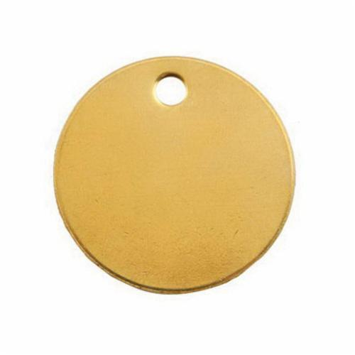 41882 1-Hole Round Blank Tag, 2 in W, 3/16 in, 18 ga Brass