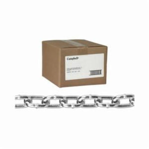 Campbell 0312014 Welded Proof Machine Chain, Single Loop, Straight Link, 2/0 Trade, 545 lb Load, 100 ft L