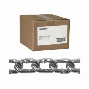 Campbell 0334024 Welded Proof Coil Chain, Single Loop, Straight Link, 4/0 Trade, 670 lb Load, 100 ft L