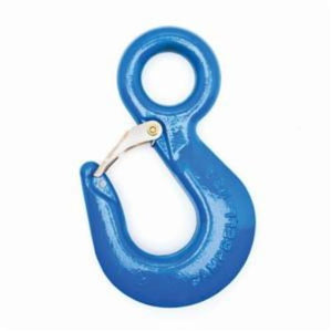 Campbell C-1015-S Eye Hoist Hook With Latch, #32 Trade, 10 ton Load, Regular Eye Attachment, Drop Forged Carbon Steel