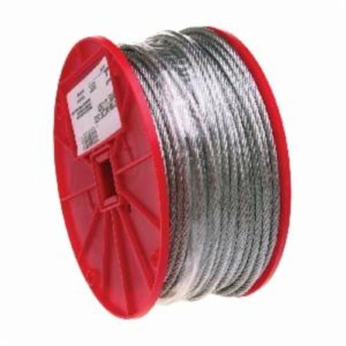 Campbell 7000827 High Strength Cable, 1/4 in, 250 ft L, 7 x 19 Strand 1400 lb, Galvanized Steel