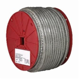 Campbell 7000897 High Strength Coated Cable, 1/4 in, 200 ft L, 7 x 19 Strand 1400 lb, Galvanized Steel