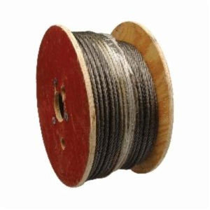Campbell 7008027 Uncoated Wire Rope, 1/4 in Dia x 500 ft, 1040 lb Load, Galvanized Steel, Black
