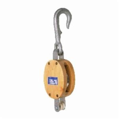 Campbell 3001J Single Regular Painter's Staging Block With Becket and Long Loose Hook, Manila Rope Cable