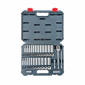 Crescent CSWS10 Deep Length Socket Wrench Tool Set, Imperial/Metric, 52 Pieces, 3/8 in Drive, 6/12 Point