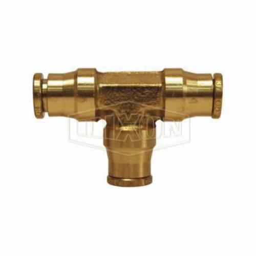 AQ64DOT4 Push-In Union Tee, 1/4 in, Tube, Brass, Domestic