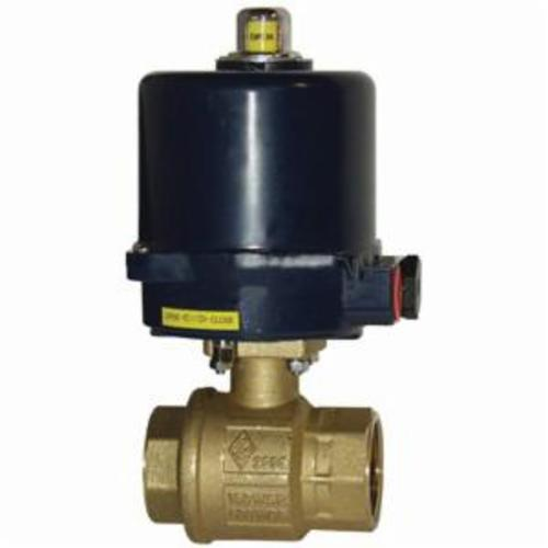 BV2BV 2-Piece Electric Actuated Ball Valve, 3/4 in, FNPT, Brass, 220 VAC, Import