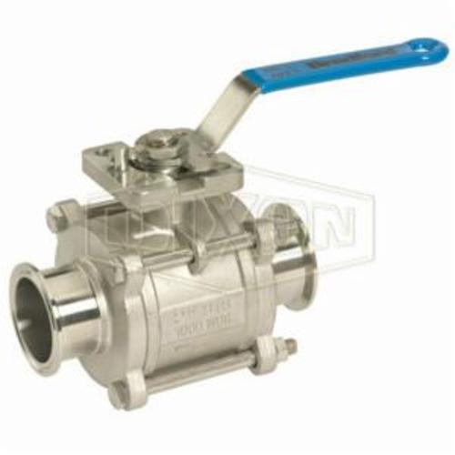BV2CV-300CC-A 2-Way Encapsulated 3-Piece Sanitary Ball Valve, 3 in Clamp, Stainless Steel, Domestic