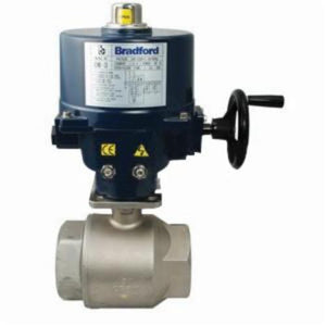 BV2BV 2-Piece Electric Actuated Ball Valve, 1 in, FNPT, 316 Stainless Steel, 24 VDC