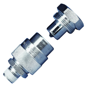 C Series High Flow Quick-Connect Hydraulic Coupler, 3/8 in, MNPT, Steel