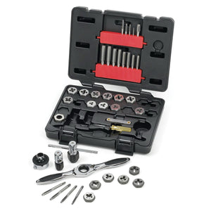 GearWrench 3885 Machine Screw Tap and Die Set, 40 Pieces, Imperial, UNC/UNF/NPT Thread, #4-40 to 1/2-20, Hex Die