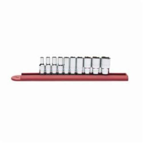 GearWrench 80305S Mid Length Socket Set, Imperial, 10 Pieces, 1/4 in Drive, 6 Point, Full Polished Chrome Plated