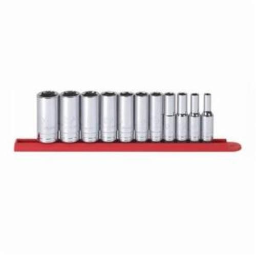 GearWrench 80555 Deep Length Socket Set, Imperial, 11 Pieces, 3/8 in Drive, 12 Point, Full Polished Chrome Plated