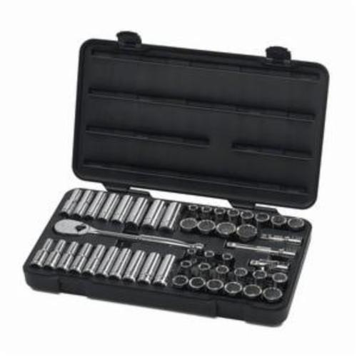GearWrench 80701 Socket Set, Imperial/Metric, 49 Pieces, 1/2 in Drive, 12 Point, Full Polished Chrome Plated