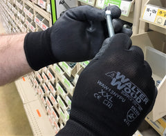 Black Nylon Glove With Polyurethane Palm Coating