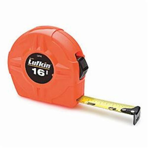 Lufkin L600 High Visibility Measuring Tape, 3/4 in W x 16 ft L Blade, Coated Steel, 1/16ths, 1/32nds
