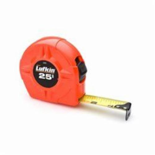 Lufkin L600 High Visibility Measuring Tape, 1 in W x 25 ft L Blade, Coated Steel, 1/16ths