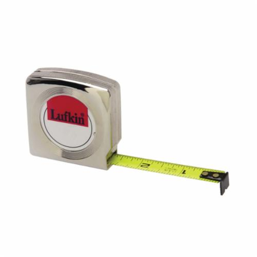 Lufkin Mezurall W9210 Tape Measure, 1/2 in W x 10 ft L Blade, Steel, Imperial