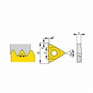 Pramet 6755257 Full Profile Negative Threading Insert, Triangle, TN Insert, TN 22EL060W ISO, 55 deg Whitworth External