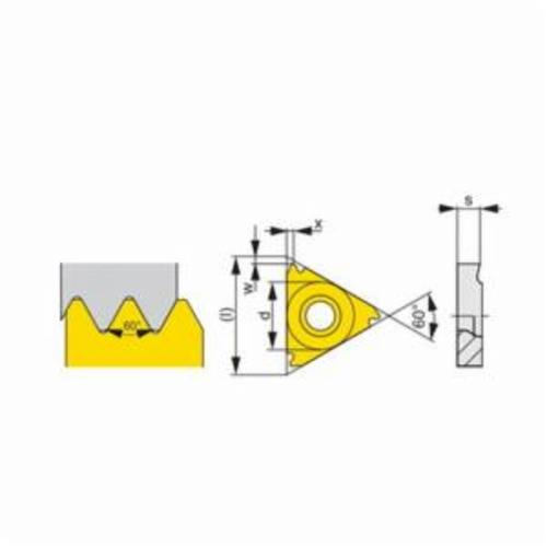 Pramet 6755512 Negative Partial Profile Threading Insert, Triangle, TN Insert, TN 22ELN60 ISO, 60 deg Metric External