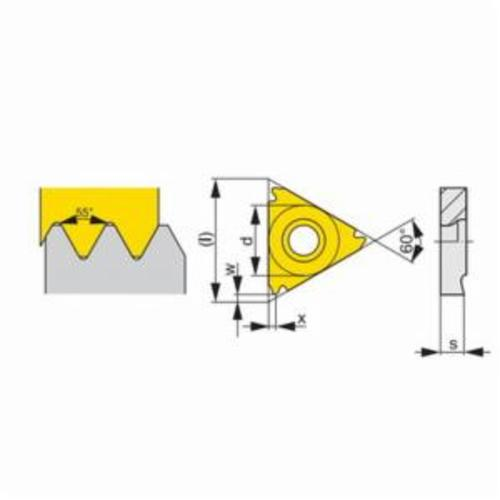 Pramet 6755529 Negative Partial Profile Threading Insert, Triangle, TN Insert, TN 16NRG55 ISO, 14 to 8 TPI