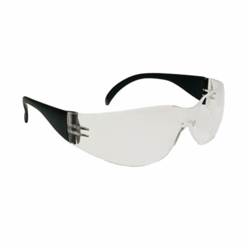 250-01-0000 Light Weight Protective Glasses, Universal, Rimless Black Frame, Anti-Scratch Clear Lens