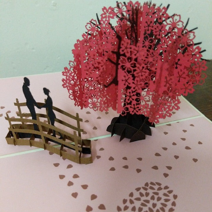 POP UP CARD CHERRY BLOSSOM LOVE SCENE