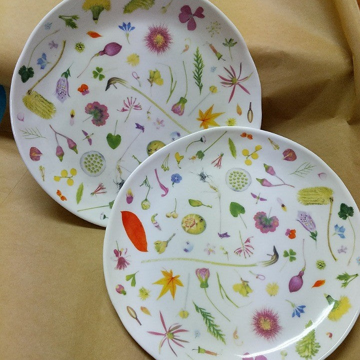 FLORAL FORAGER DINNER PLATES SET TWO