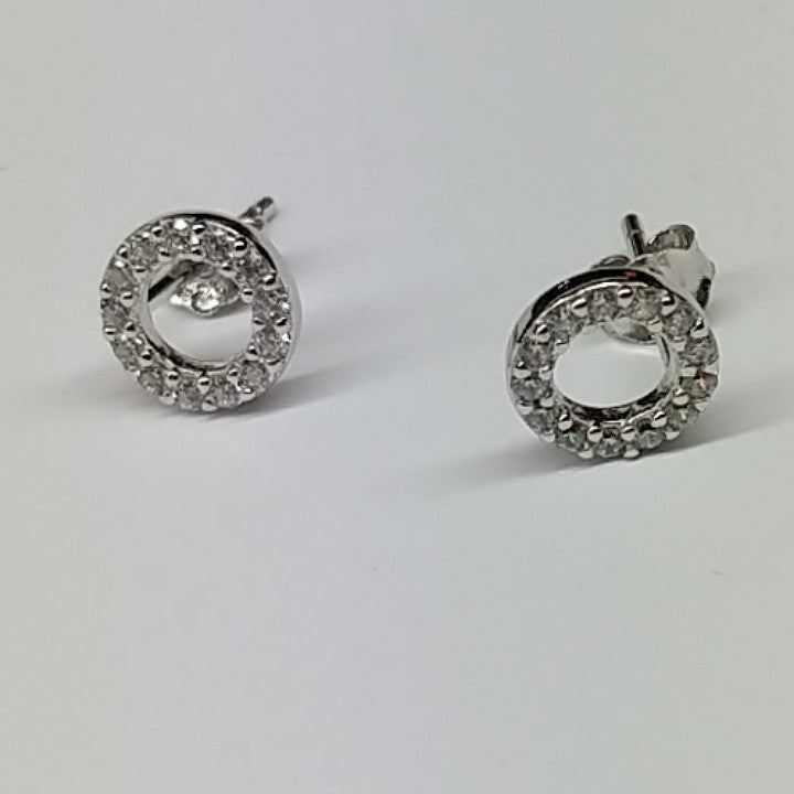 CUBIC ZIRCONIA CIRCLE STUD EARRING