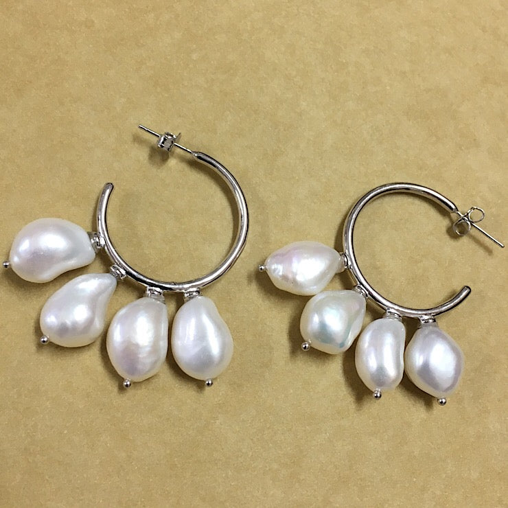 MULTI FRESHWATER PEARLS ON STERLING SILVER HOOPS