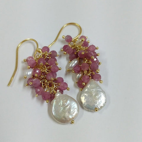 PINK TOURMALINE FRESHWATER PEARL EARRINGS GOLD PLATED STERLING SILVER