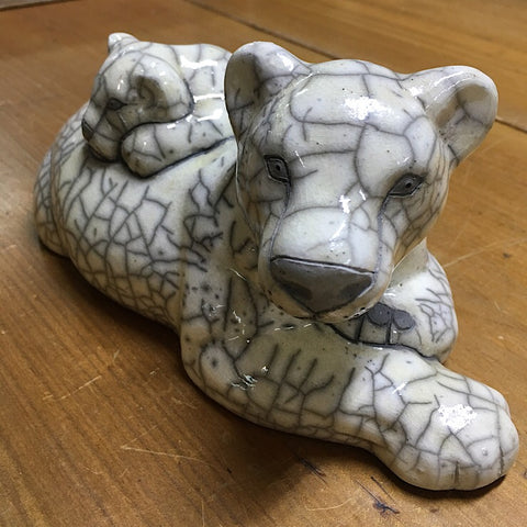 DECORATIVE CERAMIC LIONESS FIGURINE