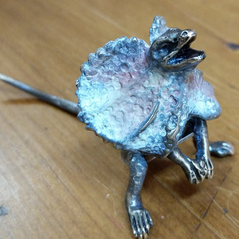 PETE SMIT BRONZE FRILLED NECK LIZARD MINATURE