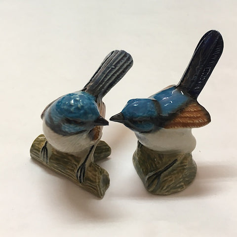 TWO BLUE FAIRY WREN CERAMIC TRINKETS