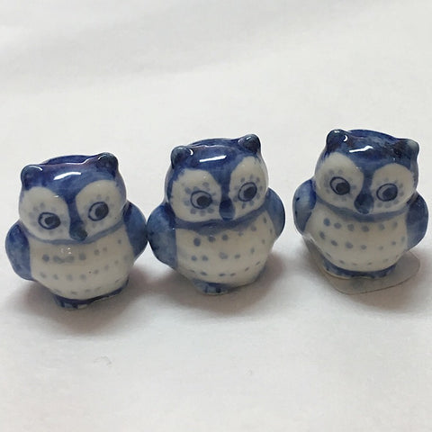 PORCELAIN TRINKET OWL BLUE & WHITE