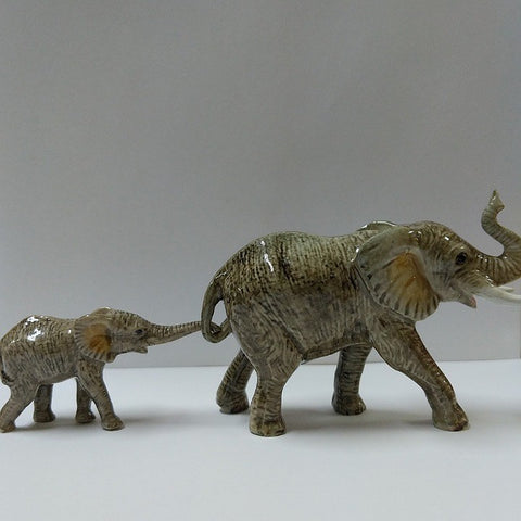PORCELAIN TRINKET ELEPHANT & CALF
