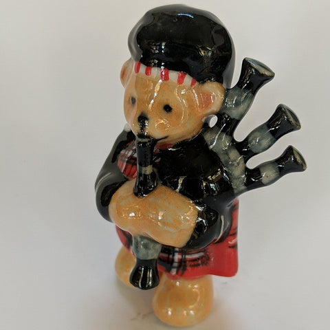 PORCELAIN TRINKET SCOTTI  BEAR PLAYING BAGPIPES