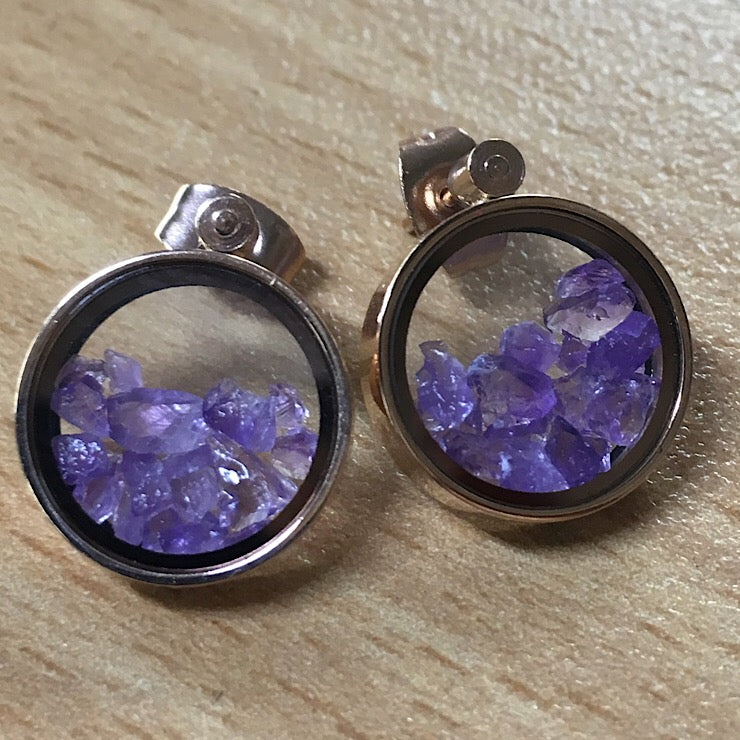 TIME FLIES ROSE GOLD CAPTURED AMETHYST EARRINGS
