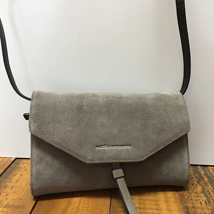 GREY SUEDE CLUTCH BAG